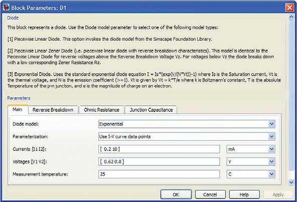 Окно моделей диода пакета SimElectronics