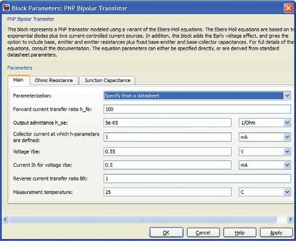 Окно параметров биполярного транзистора p-n-p-типа