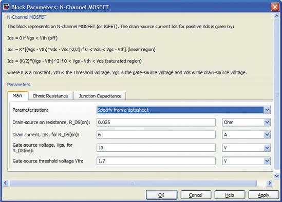 Окно параметров модели полевого транзистора типа MOSFET с каналом n-типа