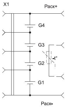 Схема аккумуляторной сборки с разъемом длябалансирования