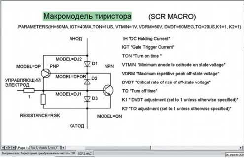 Схемотехническая модель тиристора