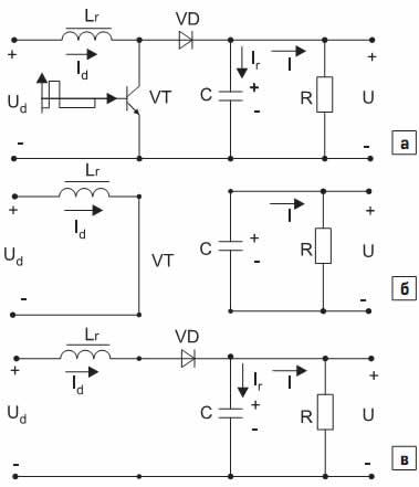 Схемы замещения импульсного повышающего регулятора постоянного напряжения на коммутационных интервалах