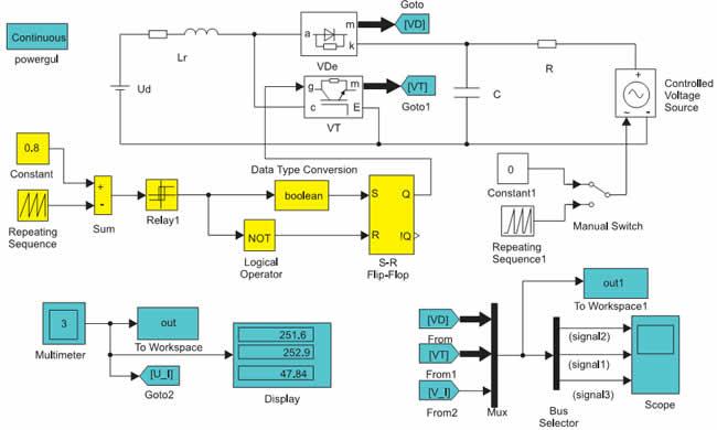 Модель импульсного повышающего регулятора постоянного напряжения с независимым управлением