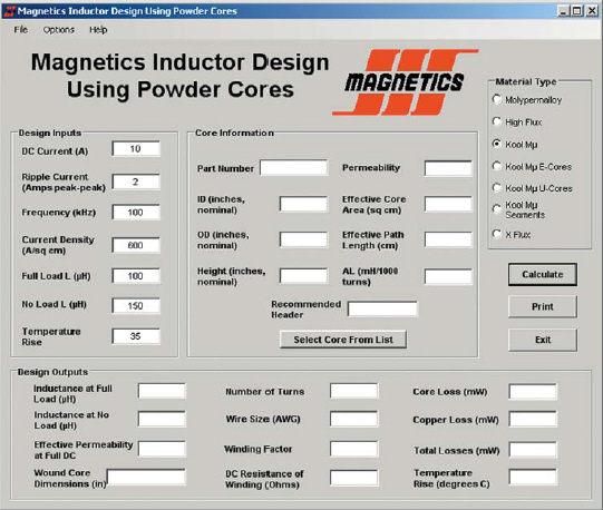Окно программы Magnetics Inductor Design Using Powder Cores
