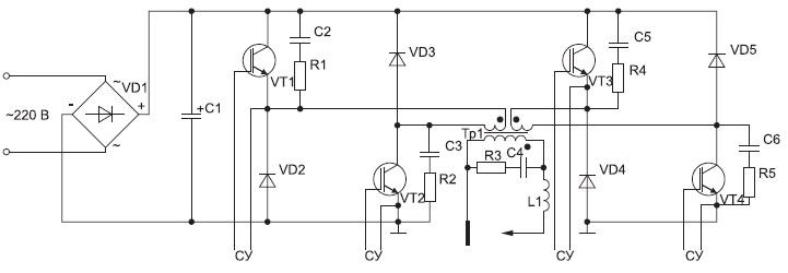 Упрощенная схема инверторного сварочного аппарата знакопеременного тока