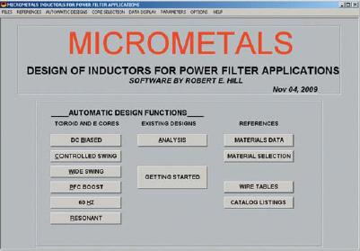 Главное окно программы Inductor Design Software