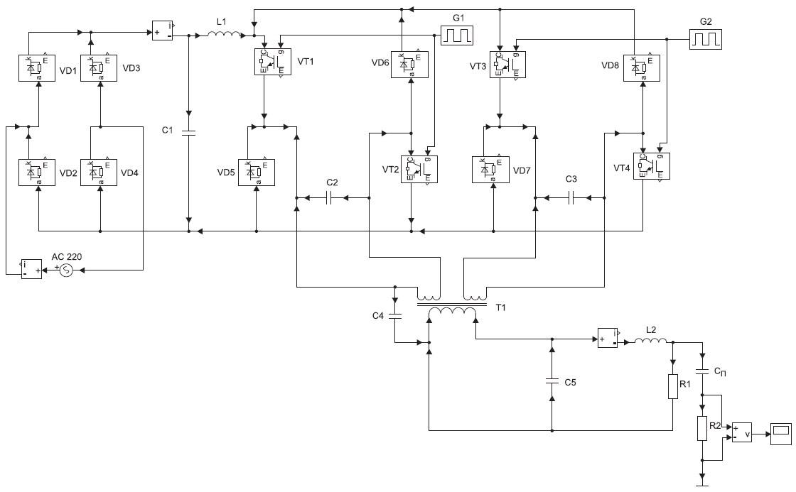 Модель ИСА знакопеременного тока в среде MATLAB