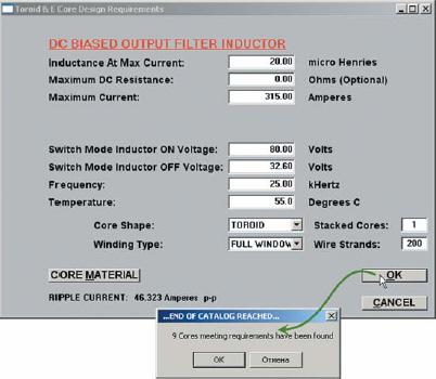 Окно расчета дросселя DC Biased Output Filter Inductor