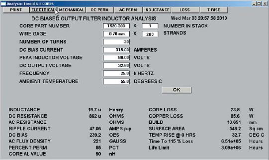 Окно Analysis с результатами расчета для выбранного сердечника