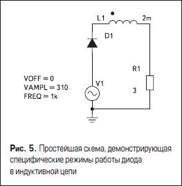 Простейшая схема, демонстрирующая специфические режимы работы диода в индуктивной цепи