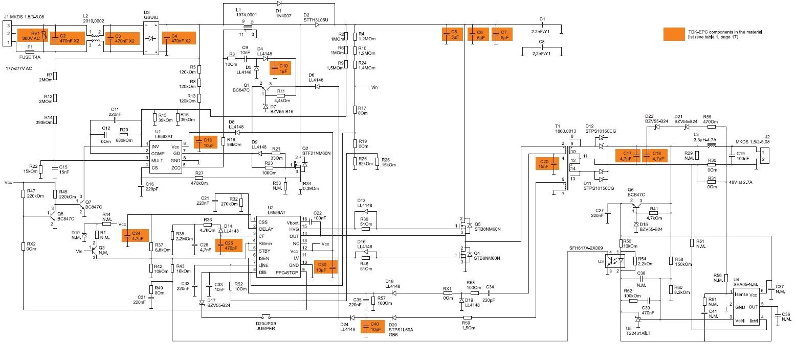 Полная электрическая схема источника питания светодиода