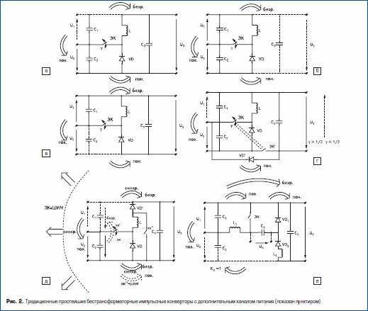 Традиционные простейшие бестрансформаторные импульсные конверторы с дополнительным каналом питания