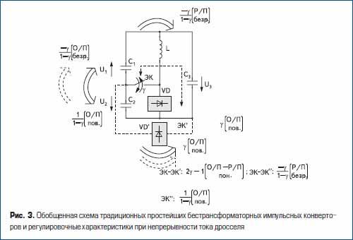 Обобщенная схема традиционных простейших бестрансформаторных импульсных конверторов и регулировочные характеристики при непрерывности тока дросселя
