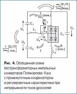 Обобщенная схема бестрансформаторных импульсных конверторов Поликарпова-Кука с промежуточным конденсатором и регулировочные характеристики при непрерывности токов дросселей
