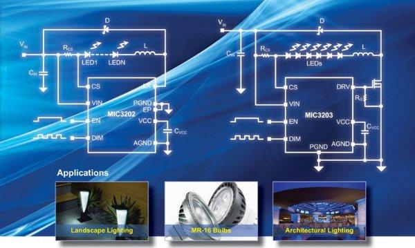 Драйверы сверхъярких светодиодов MIC3202 и MIC3203 от Micrel