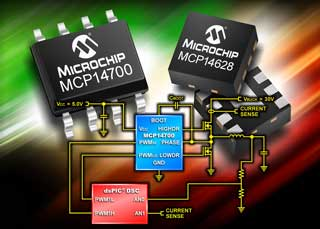 Драйверы MOSFET для синхронных понижающих преобразователей MCP14628 и MCP14700