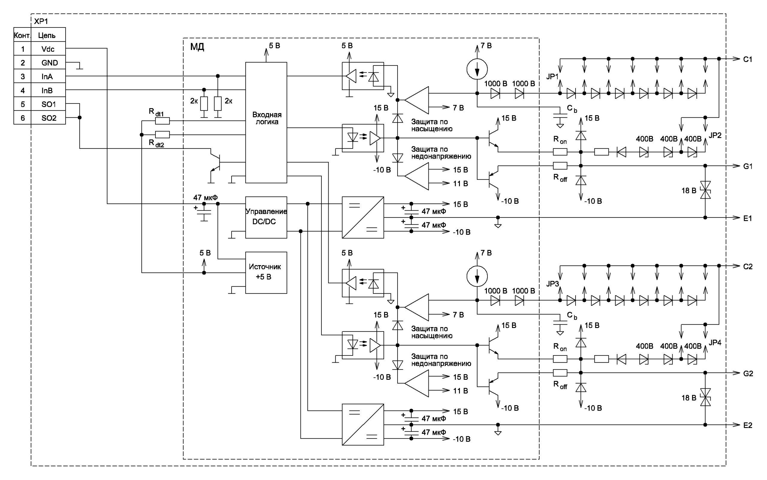 Структурная схема базового драйвера-аналога