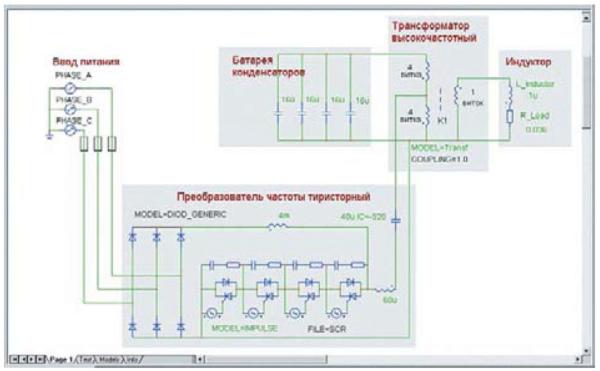 Схемотехническая модель тиристорно-индукционного комплекса с высокочастотным трансформатором